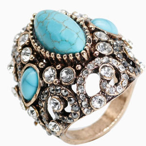 Big Antique Rings For Women Blue Natural Stone 9